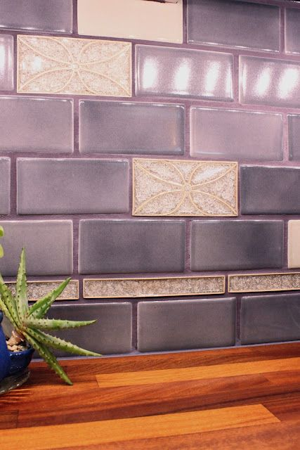 violet tile backsplash Julies kitchen  Purple kitchen  Pinterest  Tile back splashes What