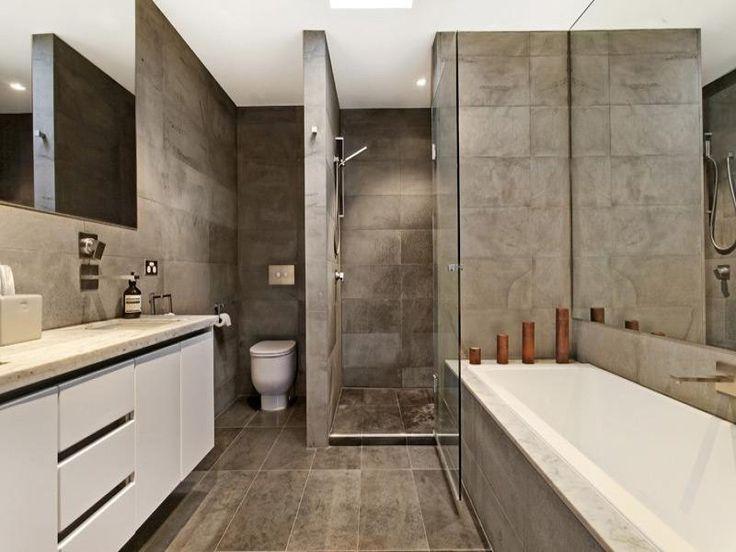 Bathroom Ideas With Polished Concrete, Tiles, Corner Bath