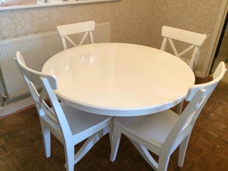 white folding chairs ikea wood rocking chair nursery round kitchen table | home decor