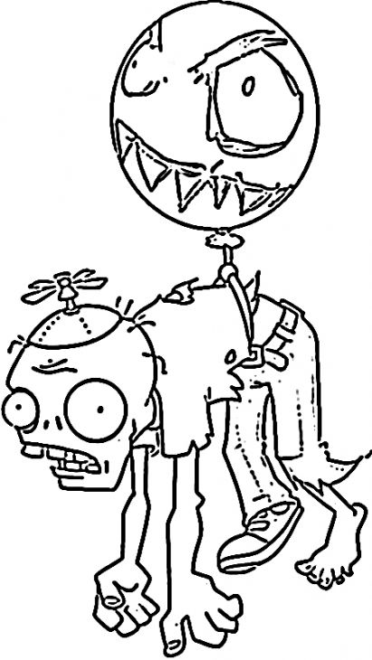 The Balloon Zombie In Plants Vs Zombies Kids Coloring