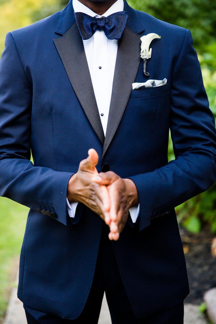 Blue Suit Gold Bow Tie