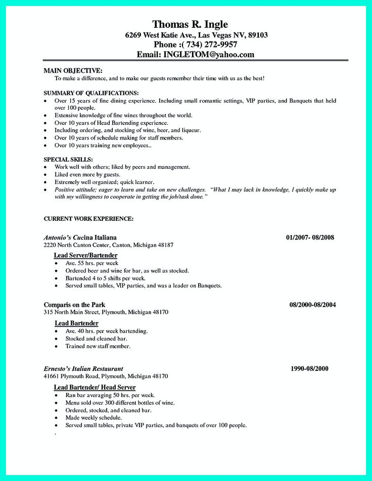 Bar Resume Examples. Resume Food Service Examples Food Safety