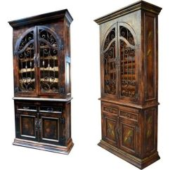 Pottery Barn Kitchen Hutch Round Rustic Table Wine Cabinet Spanish Mission Style Iron Hardware Solid ...