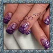 purple glitter acrylic fade ombre
