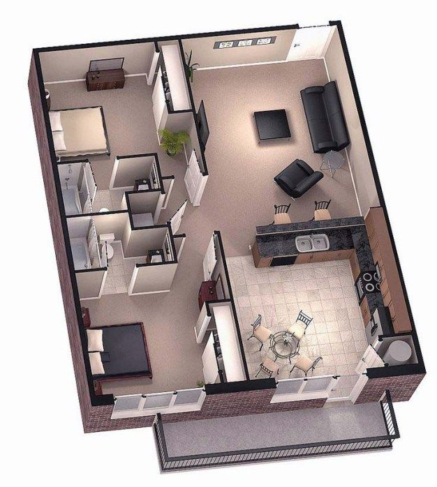 Two Bedroom Tiny House Floor Plans Open Planning