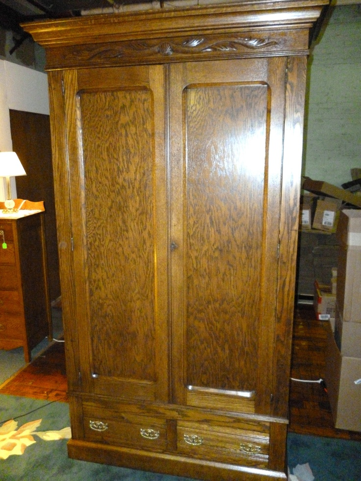 Antique Oak Wardrobe Armoire w drawers shelves Refinished knockdown Made USA  Drawer shelves