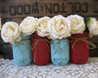 Turquoise and ruby Wedding Theme | … Rustic Wedding Centerpieces, Party Decorations, Red and Blue Wedding