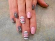 pink heart shellac nail art