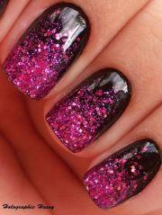 nails design art black fuchsia