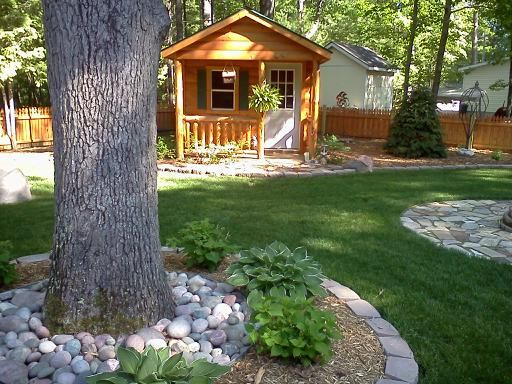 log cabin landscaping