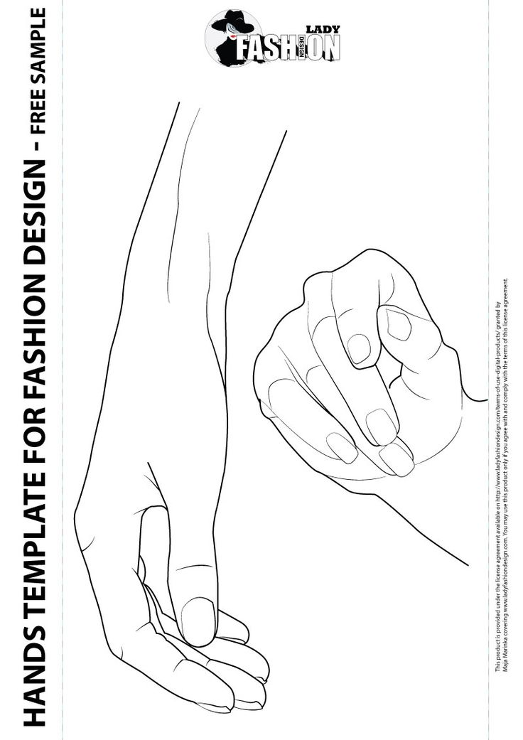 Female hands template for fashion design, includes two
