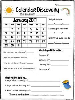 25+ best ideas about Calendar worksheets on Pinterest