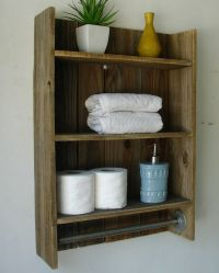 "Modern Rustic 2 Tier Bathroom Shelf with 18"" Satin Nickel ..."