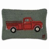 Red Truck Hooked Rug Pillow....love!