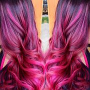fuschia balyage ombr melt. hair