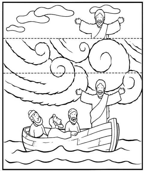 Knutselwerkje voor kleuters bij de storm op zee. Op de