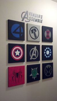 Marvel Avengers Wall art made out of 10x10 canvases and ...