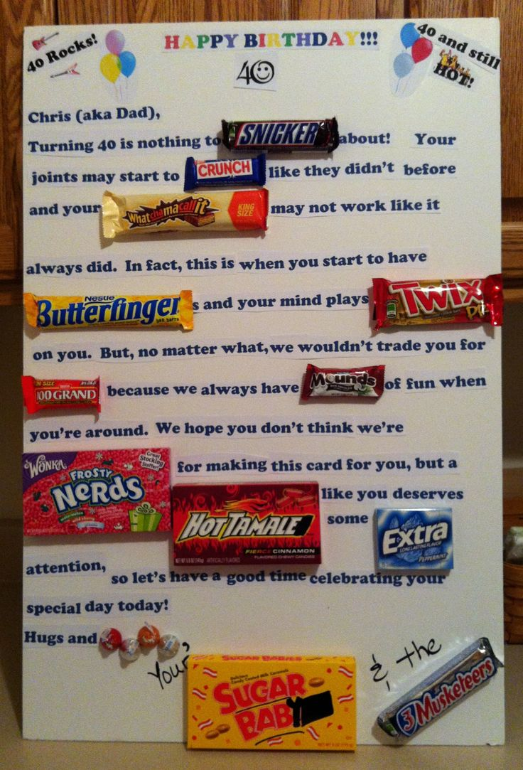 Candy Card For 40th Birthday Bday Ideas Pinterest 40