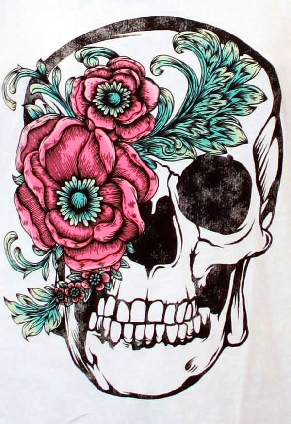 beautiful skull and flower accent