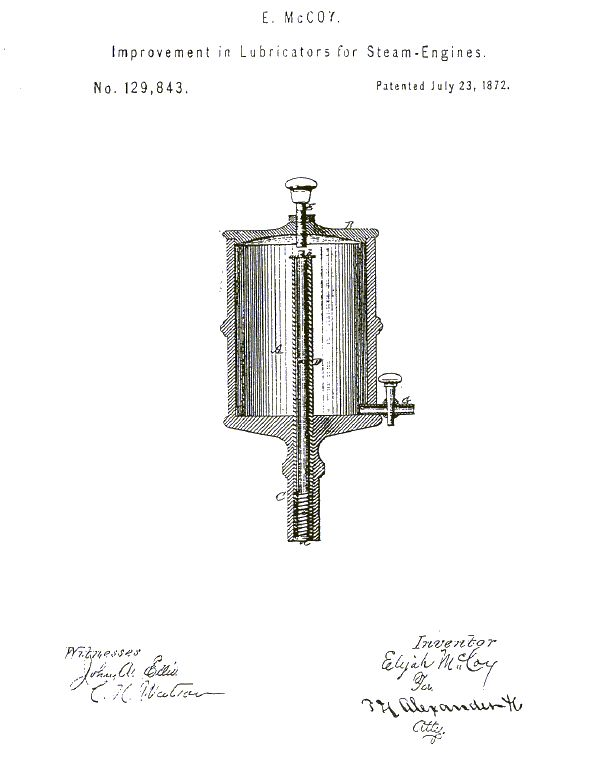 The first patent of Elijah McCoy, a turn-of-the-century