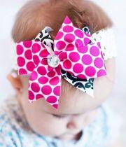 pink and black damask baby hair