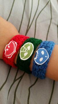 Crochet PJ Masks bracelets. Logos made with printable ...