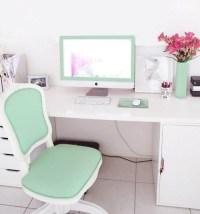 Aqua green / mint themed office - cute (love the chair ...