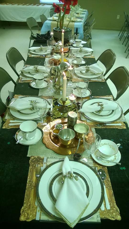 Deborah Bible theme table setting brown velvet metallic