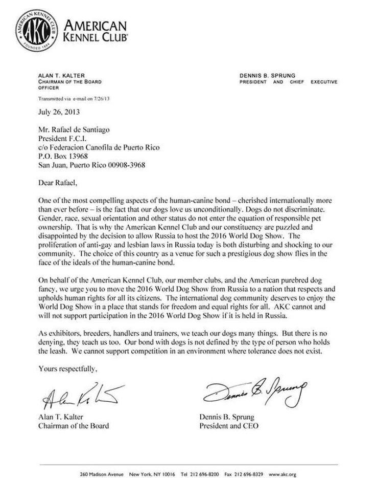 Letter From American Kennel Club Regarding International