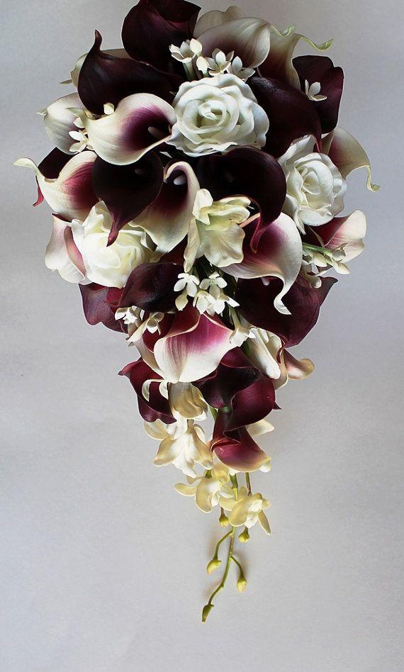 Cascade Wedding Calla Lily Bouquet Cramberry by