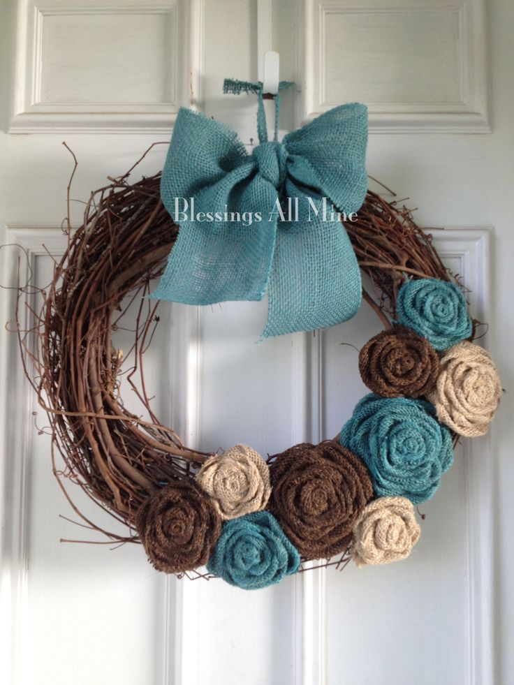 18 Inch Grapevine Wreath Burlap Brown Neutral