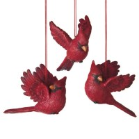 Flying Red Cardinal Bird Christmas Ornaments - Set of 3 ...