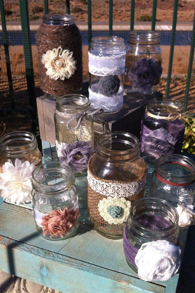 RUSTIC WEDDING DECOR 15 Bulk Burlap Lace Mason Jars