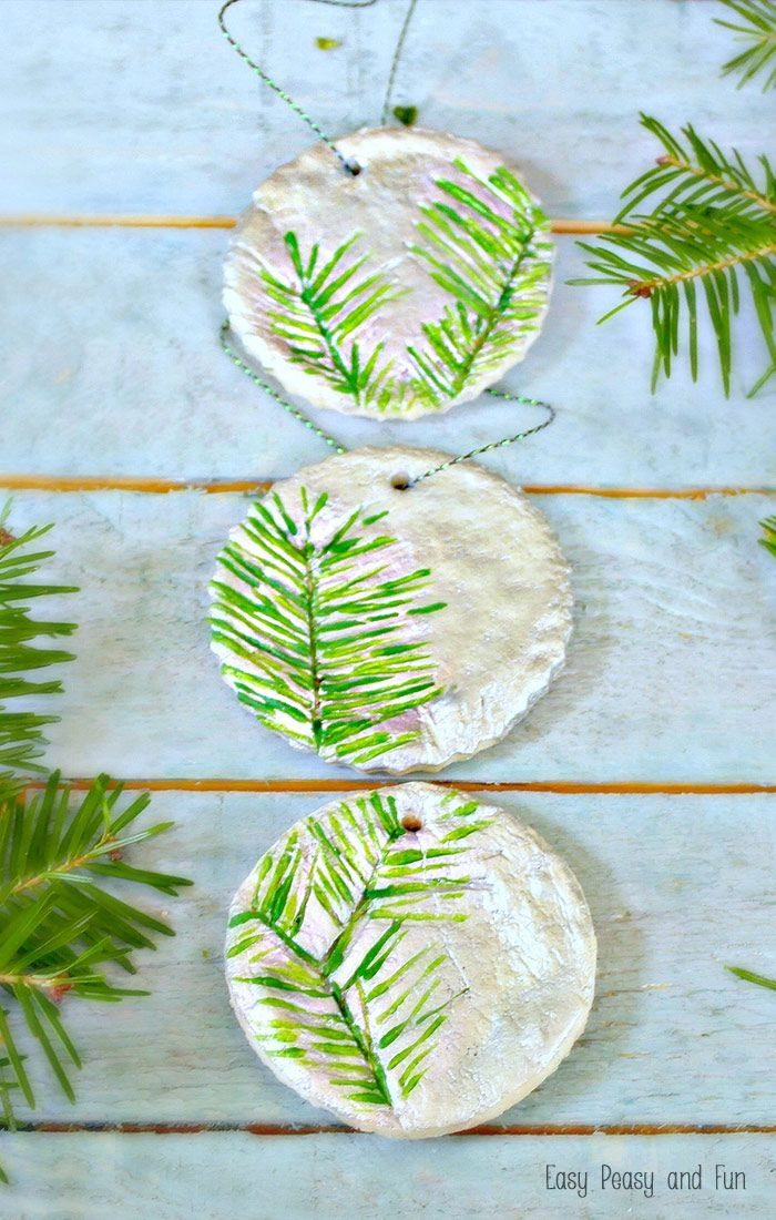 pine stamped salt dough ornaments