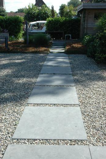 simple concrete pavers with gravel