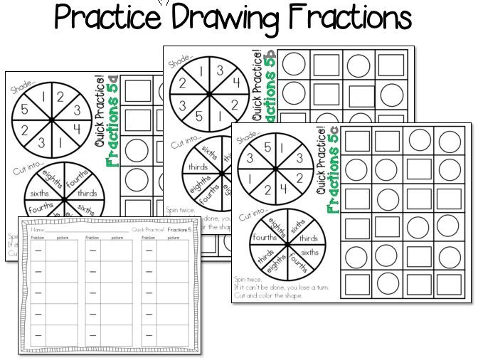5 Instant Fractions Math Stations! 15 sheets total