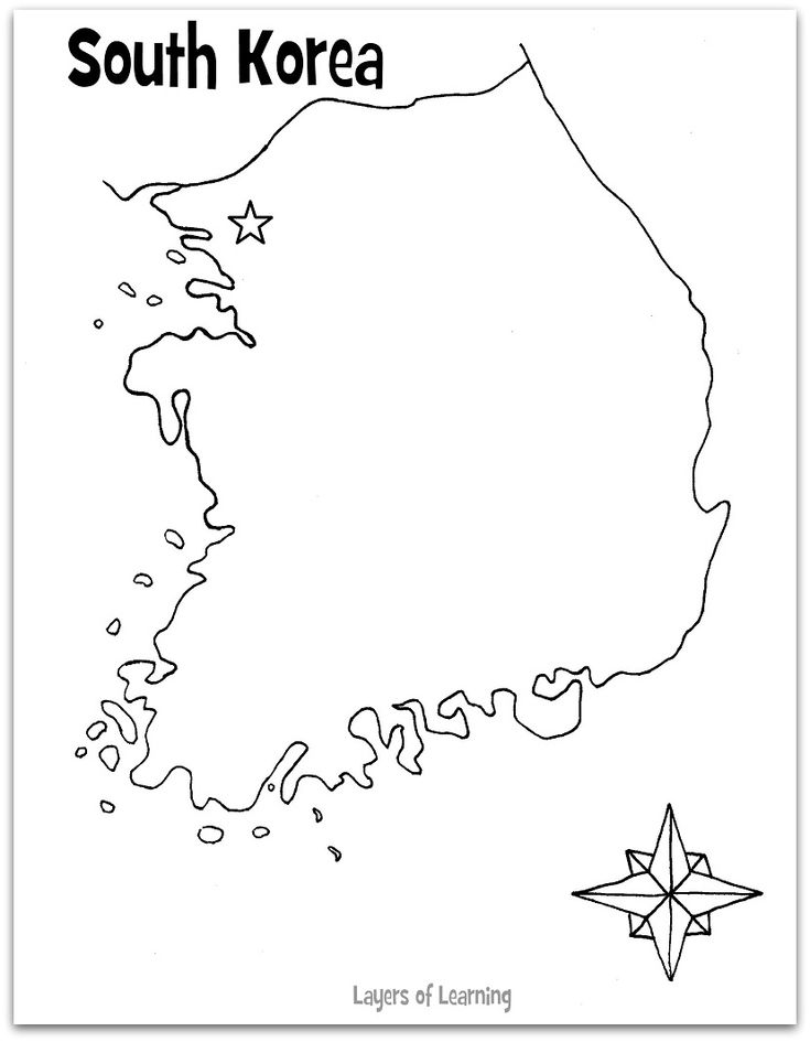 South Korea Map Outline Sketch Coloring Page