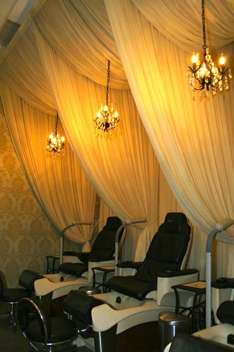 massage chair pad for car lawn tent #elegant privacy curtains | spa and salon interiors pinterest the chandelier, pedicure ...