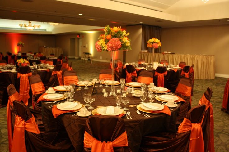 banquet hall chair covers home depot dining chairs burnt+orange+wedding+decorations | burnt orange sash and gold charger plates napkins ...