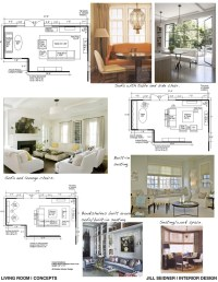 Concept board and furniture layout for a living room ...