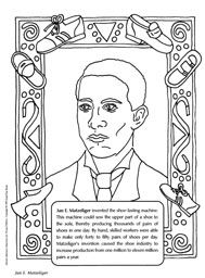 Jan E. Matzeliger coloring sheet (the inventor of the shoe