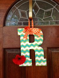 Chevron painted wooden letter, love this for the front ...