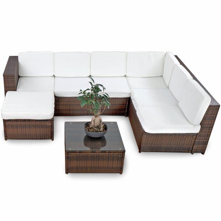 xinro polyrattan loungeset braun mix gartenmobel set bahamas,