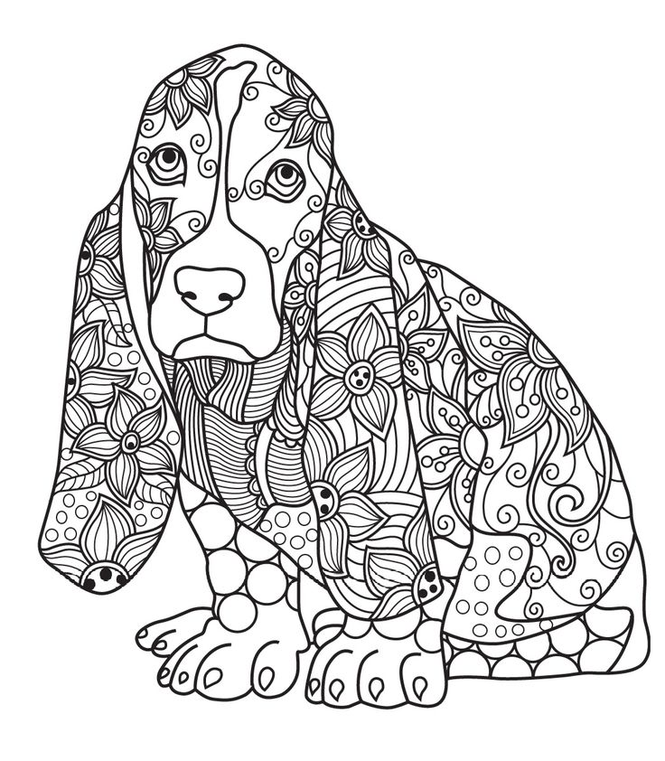 431 best images about Cats + Dogs Coloring Pages for ... | free printable animal mandala coloring pages for adults