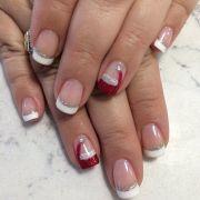 santa hat nails and french