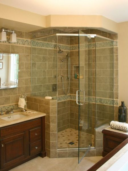 master bathroom tile design ideas like the shower with the glass tiles Traditional Bathroom Design, Pictures, Remodel, Decor and