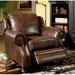 Tritone Lazy Boy Style Recliner Chair in Brown Top Grain