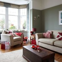 Grey and red festive living room | Traditional Christmas ...