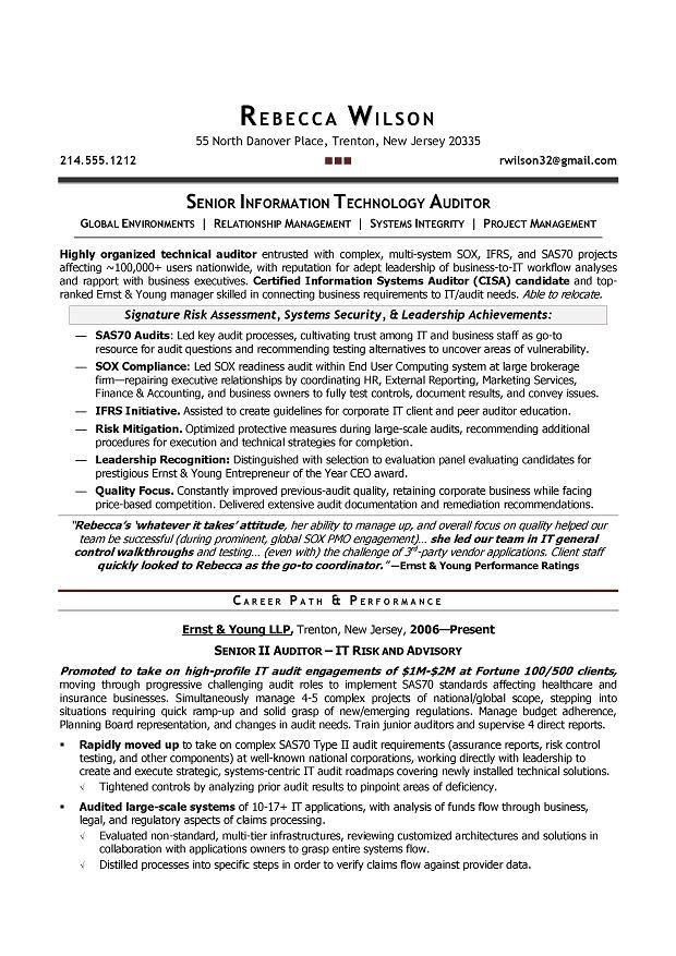 Senior IT Auditor Compliance Sample Resume Resume