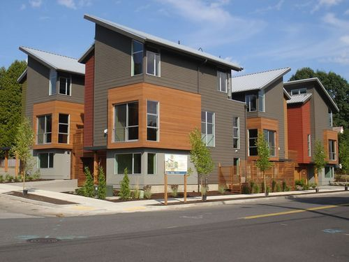 Diversity Of Materials Interesting Roof Lines Eightx17 Exterior Contemporary Townhomes